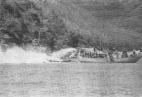Duc Pho trawler, sunk and on fire