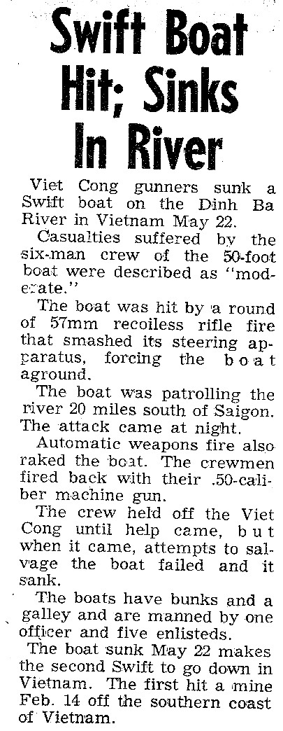 PCF 41 sinks 22 May 1966 newspaper article